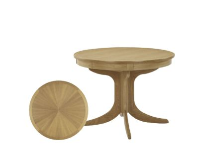 Circular Dining Table with Sunburst Top on Pedestal