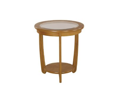 Glass Top Round Lamp Table
