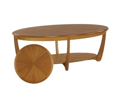 Sunburst Top Oval Coffee Table